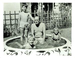 Old Buster Keaton in a Kiddie Pool